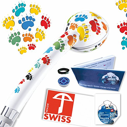 Druckverstärkender Duschkopf TÄTZLI – kräftiger Strahl, verkalkungsfrei, Schweizer Produkt, 1 Wassersparer für 2 Durchflussmengen in den Energieklassen B-C