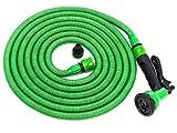 Tubo da giardino flessibile di 2a GENERAZIONE in Kit tutto-compreso con doccetta e attacco per tutti i rubinetti | Tubo per l'acqua da irrigazione per innaffiare con pistola | Jardinax (15m)