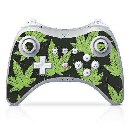 Nintendo Wii U Pro Controller Case Skin Sticker aus Vinyl-Folie Aufkleber Hanfblatt Weed Gras Grün