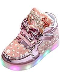 4286581e9 QinMM Zapatos LED Niños Niñas Deportivas de Luces Estrella Corriendo  Zapatillas