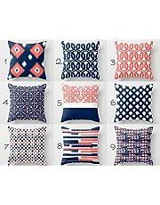 Kridhay Natura Life Velvet Decorative Throw Pillow/Cushion Covers (Multicolour, 16 x 16 inch) Set of 9