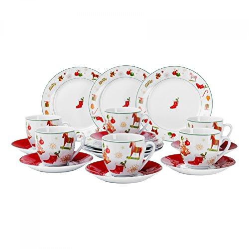 Van Well Christmas Time Kaffeeservice, 18-tlg. für 6 Personen, Kuchenteller + Kaffeetasse und Untertasse im Set, edles Marken-Porzellan, Weihnachtsdekor