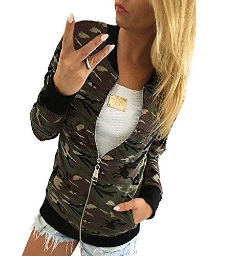 Minetom Damen Reißverschluss Camouflage Jacken Mantel Herbst Winter Straße Kurze Jacke Outwear Women Casual Jackets Grün DE 38