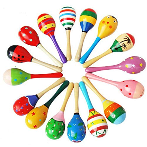 Preisvergleich Produktbild HoganeyVan Colorful Small Wooden Hammer Cartoon Sand Ball Knock Wooden Bell Baby Educational Toys Kids Best Gift