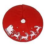Tappetino rotondo per base albero di Natale, con Babbo Natale e renne, 100cm di diametro, colore rosso