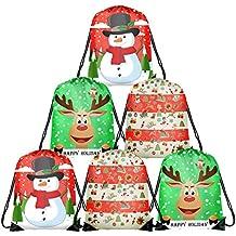 TUPARKA 6 Unids Navidad Bolsas con Cordón Santa Cadena Mochila Cinch Sack Bolsas Fiesta de Navidad
