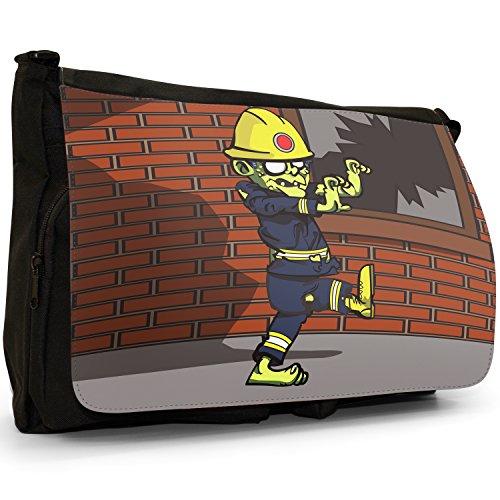 Zombie Plague morti viventi–Borsa Tracolla Tela Nera Grande Scuola/Borsa Per Laptop Fireman Zombie