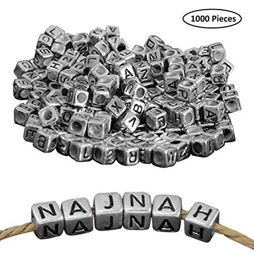 Alphabet-Perlen(1000 Pack) - 5mm A-Z-Kunststoffperlen für die Schmuckherstellung - Quadratische Perlen mit Silbereffekt - Acrylwürfelperlen für DIY-Armband, Halskette, Lesezeichen, Schlüsselanhänger