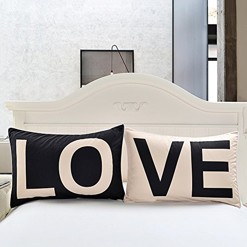 Coppia di federe sundlight 50x75cm nero / bianco amore lettera patterns pillowcases idea regalo romantico per il natale anniversario giorno di san valentino di nozze