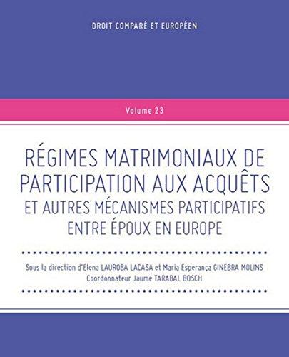 Régimes matrimoniaux de participation aux acquêts