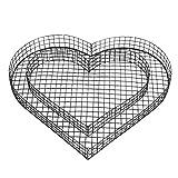bellissa Herz-Gitter Pflanzschale - 99589 - Gabionen-Pflanzgefäß für Balkon, Terrasse und Garten - herzförmige Beet- und Grabdekoration mit Bodengitter - 37 x 34 x 4 cm