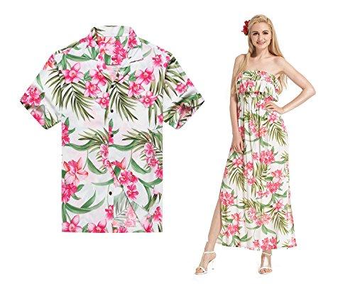Camisa-a-rayas-con-cuello-alto-y-hombros-descubiertos-de-Hawaii-con-hombros-descubiertos-Floral-blanco-rosa-floral
