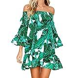 OSYARD Damen Sommer Herbst mit Blätter Drucken Lose Langarm Beachwear Schulterfrei Halbe Hülse Strandkleid Prinzessin Kleid