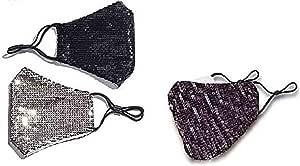 NIDAYE, 3 confezioni di cotone con paillettes, alla moda, protezione solare e traspirante, riutilizzabile, lavabile in cotone, per uomini e donne