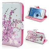 jbTec® Flip Case Handy-Hülle zu Samsung Galaxy S3 / GT-I9300 LTE / GT-I9305 Neo / GT-I9301 - BOOK MOTIV - Handy-Tasche Schutz-Hülle Cover Handyhülle Ständer Bookstyle Booklet, Motiv / Muster:Kirschblüten B15