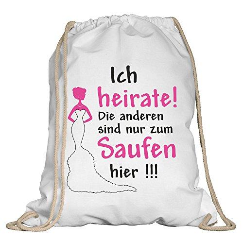 Shirtdepartment® Turnbeutel Junggesellinenabschied   Farbe: Ich heirate! Weiss-Fuchsia   JGA   Braut   Braut Crew   Jutebeutel   Tour   Spruch   Bride   Saufen