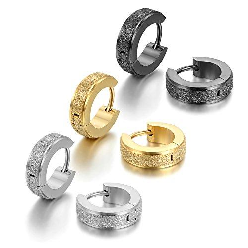 Cupimatch 3 Paare silber schwarz gold Edelstahl Matt Ohrstecker Creolen Tunnel Ohrringe Ohrschmuck Modeschmuck Ohranhänger für Damen Herren