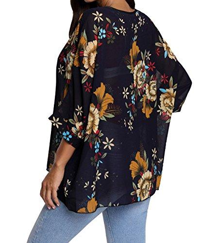Oukin Damen-Bluse, Bohemian-Look, Blumenmotiv, Fledermausärmel, Chiffon, Übergröße, lose fallend, Schulterfrei - Style 24