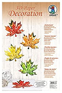 Ursus - 21910099 Papel de decoración Las Hojas de otoño en 3D, Alrededor de 9,3 x 8,5 cm