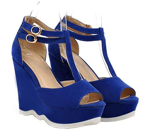 Bombas Calcanhar Cheiro T Fivela Cunha Plateau Toe Salto Alto Sapatos Senhoras De Do Sandálias Azul De slides Com Vós Camurça Peep Sapatos PFq8IxwPr