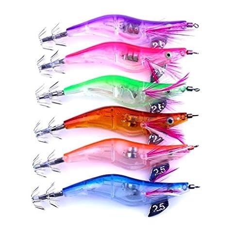 Fishing Lure Bait ,Lanowo 6pc LED Electronic Light Prawns Curls Squid Jigs Bait Bass Lure Fish Equipment650214205700