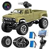 MAXXRACE Kamera RC Autos Elektrisches Ferngesteuertes Spielzeugs, Remote Control Autos mit Live Übertragung 4WD 2Motor 2.4G FPV WiFi (App) Kamera 2 Sätze Reifen, RC Auto für Kinder Erwachsener