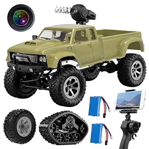 MAXXRACE Kamera RC Autos Elektrisches Ferngesteuertes Spielzeugs, Remote Control Autos mit Live Übertragung 4WD 2Motor 2.4G FPV WiFi (App) Kamera 2 Sätze Reifen, RC Auto für Kinder Erwachsener (Autos)*
