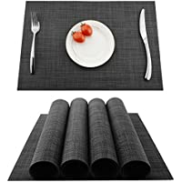 KOKAKO Sets de Table(Lot DE 4)–Sets de Table antidérapant Lavable,Sets de Table en PVC,Les Fêtes Résiste à la Chaleur,à la saleté et Lavable,Sets de Sol pour Cuisine Plates Table(Gris Foncé)
