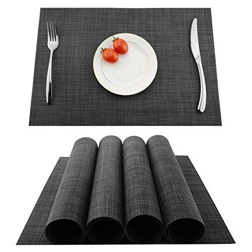 KOKAKO Platzsets (4er Set), Rutschfest Abwaschbar Tischsets,PVC Abgrifffeste Hitzebeständig Platzdeckchen,Schmutzabweisend und Waschbare,Platz-Matten für Küche Speisetisch(Dunkel Grau) …
