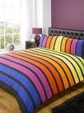 Rapport SoHo Multi Stripe Duvet Cover Quilt Bedding Set, Blue Purple Orange Yellow Green, Double Size - Bedroom Bed Linen