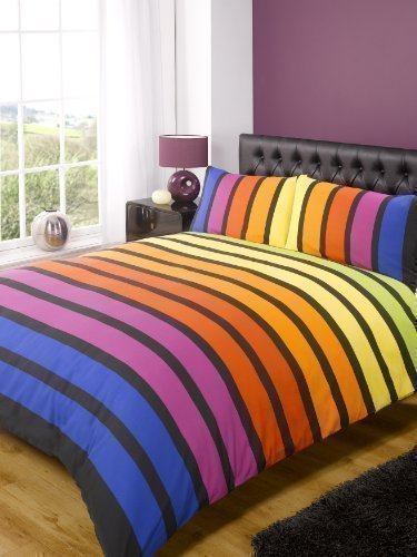 Rapport SoHo Multi Stripe Duvet Cover Quilt Bedding Set, Blue Purple Orange Yellow Green, Double Size – Bedroom Bed Linen