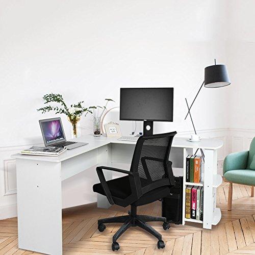 Eck-schreibtisch L-form (L-Form Ecke Computertisch Laptoptisch Arbeitstisch Bürotisch Ablage Weiß/Schwarz (Weiß))
