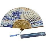 KAKOO Soie Pliant Ventilateur Avec Bambou Côtes Japonais Kanagawa Vagues Pattern Design Hand Held Gorgones Pour Danser le Mur de Bureau Cosplay Mariage Fête Les Accessoires Maison Décoration Bricolage