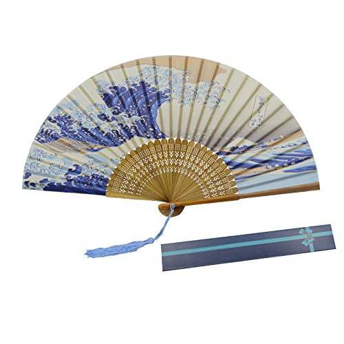KAKOO Japanische Handfächer Kanagawa Sea Welle Fächer Taschenfächer mit Box Geschenk Wanddekor Hochzeit Kostüm Theater