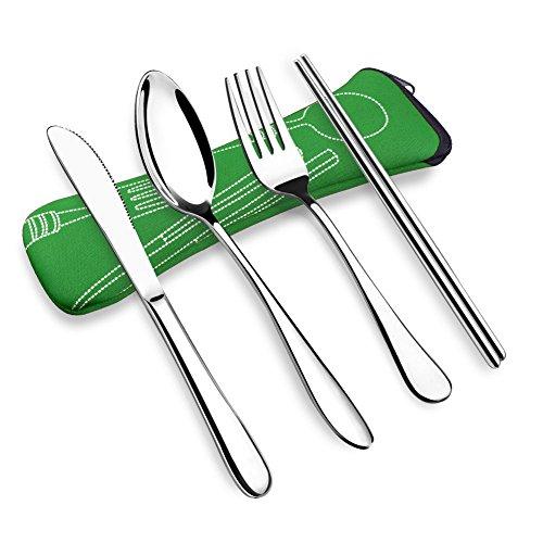OFUN Camping Besteck, 4 Stück Besteck to Go Travel Besteck Set mit Neopren Bestecktasche, 304 ASTM Lebensmittel Verwendet Edelstahl Besteck Outdoor, Campingbesteck 1 Person (Grün)