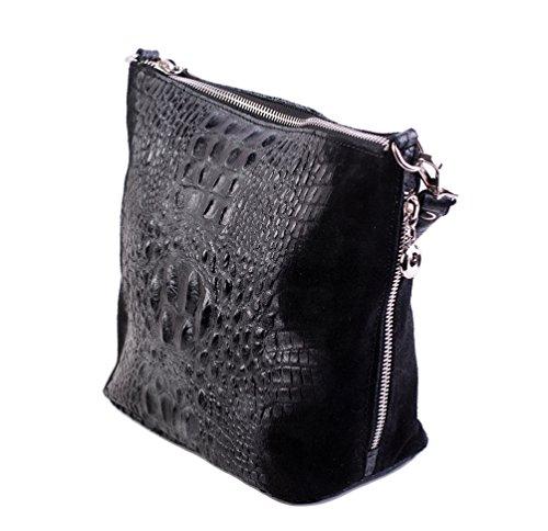 "SLINGBAG ""Simone"" mini Shopper / Schultertasche aus hochwertigem Leder in Kroko-Optik / FARBAUSWAHL (Dunkelblau) Schwarz"