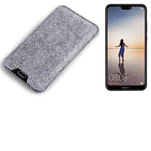 K-S-Trade Filz Schutz Hülle für Huawei P20 Lite Single-SIM Schutzhülle Filztasche Filz Tasche Case Sleeve Handyhülle Filzhülle grau