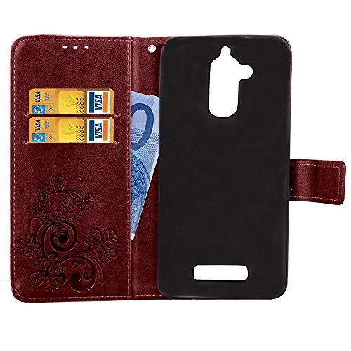 Double Magnetic Back Sucktion Retro Style PU Leder Flip Stand Case mit Kickstand und Wallet Beutel Funktion für Asus ZenFone 3 Max ZC520TL ( Color : Gray ) Brown