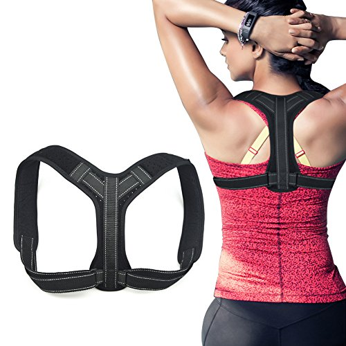 Postura Corrector de Postura de Espalda tirantes correctores, alivio del dolor, mejora la postura de espalda hombro y cuello para hombres o mujeres, ajustable, color negro