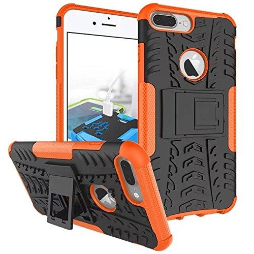 iPhone 7 Plus hülle,Lantier 2 in 1 Design Tire Series [Anti Blockier System] Dual Layer Hybird Tropfenschutz Defender Case Schutzhülle für iPhone 7 plus 5,5 Zoll Orange Tire Series Orange