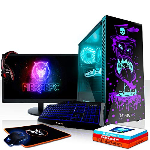 Fierce Maniac RGB Gaming PC Bundeln - Schnell 4.0GHz Hex-Core Intel Core i5 8400, 1TB HDD, 8GB 2666MHz, AMD Radeon RX 560 2GB, Windows 10, Tastatur (QWERTZ), Maus, 24-Zoll-Monitor, Headset 1074774
