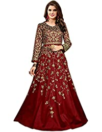 Shoppingover Indian Party wear Floor Length Punjabi Anarkali Suit Fabric-Red Color
