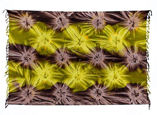 Ca 44 Modelle Sarong Pareo Dhoti Lunghi ca. 170cm x 110cm Handbemalt Tie Dye Batik Wickelrock Strandtuch Tuch Viele Modelle Kräftige Farben Original von EL - Vertriebs GmbH Grün Braun Blickdicht