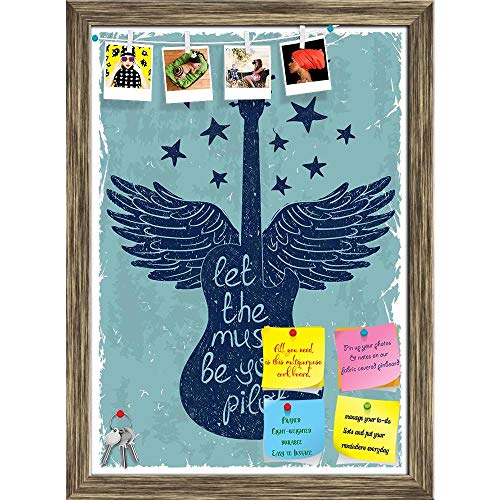 Artzfolio Guitar Wings & Stars Printed Bulletin Board Notice Pin Board | Antique Golden Frame 16 X 22.2Inch