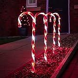 Festive Lights - 4er Set - beleuchtete Zuckerstangen Dekoration - 40 LEDs - strombetrieben - für Außen & Innen (Zuckerstangen Set)