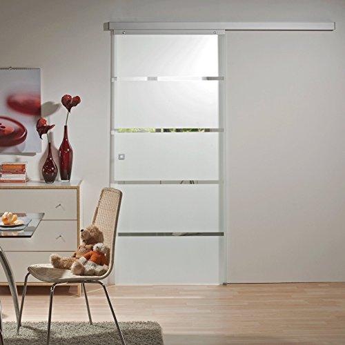 Schiebetür Glas-Schiebetür Zimmertür 880x2035mm Innentür Komplettset mit Laufschiene & Glastür (Blockstreifen satiniert + Quadratgriff)