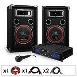 Elektronik-Star DJ PA-Set DJ-14 1600W Musik-Karaoke-Anlage PA-Verstärker SPL-500 mit 2x 200 Watt RMS Malone PA Lautsprecher-Boxen Paar (inkl. Mikrofon, Kabelset, 3 Stereo-Cinch-Eingänge) schwarz