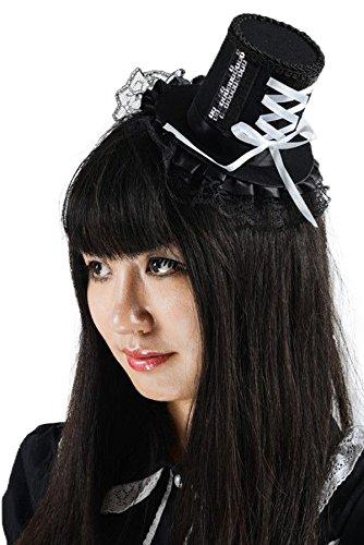 Black Sugar Noir - Bibi Chapeau Décoration Cheveux Mariage Cérémonie Paillettes Rubans Gothique Lolita Steampunk Fixation Barrettes Déguisement Cosplay Paris