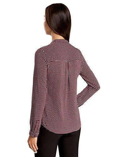 oodji Collection Damen Viskose-Bluse mit Druck und Stehkragen Rot (4929G)