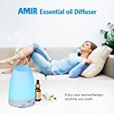 AMIR 150ml Ultrasonic Aroma Diffuser with 7 Colorful LED Lights, Aromatherapy Essential Oil Diffuser, Cool Mist Humidifiers and Waterless Automatically Shut-off, for Home, Yoga, Office, Spa, Bedroom, Baby Room Bild 4